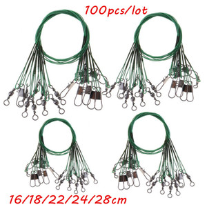 100pcs lot 5 Sizes Mixed 16cm-28cm Anti-bite Steel Wire Fishing Lines Stainless Steel Snaps & Swivels Pesca Fishing Tackle Accessories BL_45