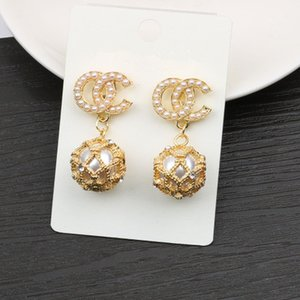 Earrings New Exquisite Silver Needle Fashion Alphabet Diamond Pearl Gold Earrings Jewelry Wholesale European And American Style