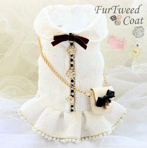 el envío libre de lujo hechos a mano ropa para perros estilo de la vendimia C bolsa de la cadena de tweed perla vestido clásico perro otoño invierno primavera pequeña mascota