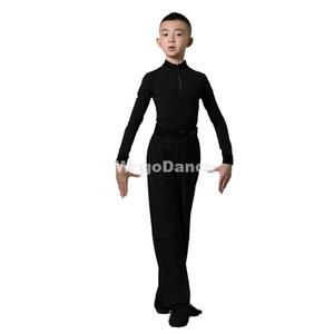 Новый черный латинских танцев рубашка брюки комплект мальчиков Самба Румба Bodysuit Salsa Tango Практика Dance одежда Бальные Outfit 110-170cm