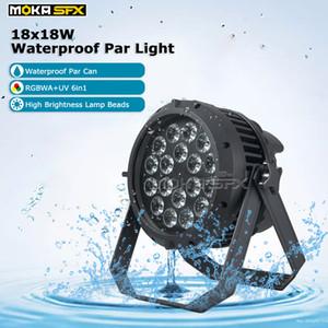 Plus récent Dj lumière 18 * 18W RGBWA + UV 6in1 étanche Par LED Par Can uplighting Lumière pour le mariage Disco Nightclub Party