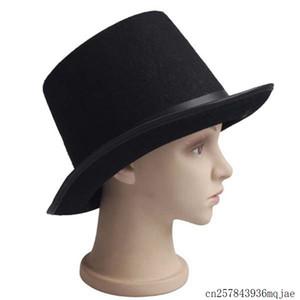 Черный сатин войлочная топ-шляпа волшебник модных топ шапки джентльмен взрослого 20-х годов костюм смокинг викторианская крышка Holloween Party Mnns