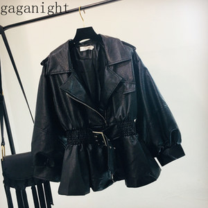 Giacca in pelle Gaganight PU autunno Donne Motorcycle Fashion Cappotto Nero increspato Sash Ecopelle Giacca soft Ragazze Chaqueta Mujer