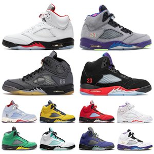 Nike Air Retro Jordan 5 5s off white Jumpman 5 2020 Fire Red Bel Airs Muslin Preto TOP 3 Mens Tênis De Basquete Alternate Grape Michigan Island Green Womens Sneakers