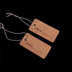1000pcs / lot Größe 2x4cm Preisschild Rechteckige Aufkleber Tie String Schmuck Kleidung Display-Waren-Preise Papierkarte