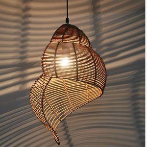 Sul da Ásia Arte Decoração Conch luz forma pendant mão de malha Wicker Varanda Hanging iluminação da lâmpada Bar Restaurante Cozinha Led