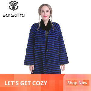 SARSALLYA Kış Kadın Vizon Coat Gerçek Vizon kürk Palto Gerçek Deri Ceket Kürk Vizon Uzun Kadın Tavşan Kürk JacketMX191009