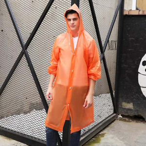 PEVA Raincoat 5 Colors Reusable Transparent Rain Coat Women Adult Outdoor Hiking Waterproof Gear Rain Jacket LJJO7846
