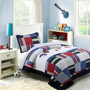 Cotton Boys Bedspread Bedcover Coverlets Sets TwinSize 2pc Europe American Luxury Kids BeddingSets Embroidery Quilted Quilts Bedsheet Pillow
