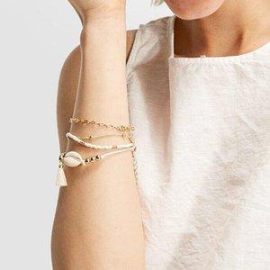 Heiße Art- und Weiseschmucksache-mehrschichtige Armband-Shell Beaed Armbänder handgemachte Webart-Armbänder 5pcs / set S33