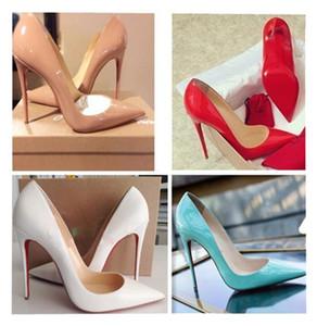 2020 talones de la nueva manera caliente de los remaches clásicos Bottom Bottoms talones altos rojos Negro Bombas de bodas de plata vestido de mujer zapatos para mujer