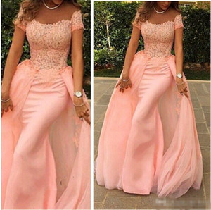 Removable Skirt Prom Dresses 2018 Pink Lace Appliques Off Shoulder Short Sleeve Long Sheath Evening Dress Formal Party Gown Plus Size