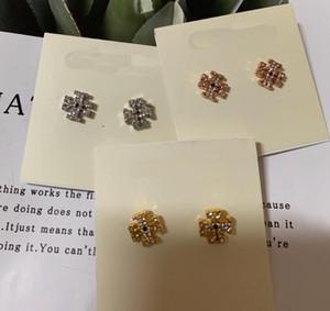 Trasporto libero caldo reale oro / argento / oro rosa placcato Rhinestone pieno Stud Dorp fascino orecchini di goccia popolare marchio Hot Sale orecchini Lettera