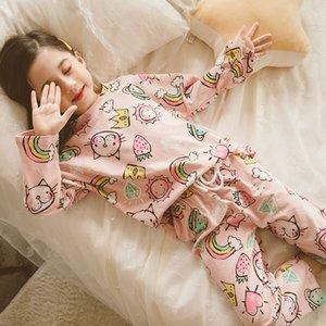 Kızlar Pijama 2020 İlkbahar Yeni Karikatür Büyük Kızlar Takımı Prenses Uzun Kollu Sleepwear Güz Y200704 pijamalar Print Çocuklar Home Service ayarlar