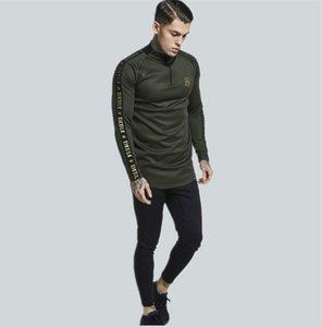 2020Fashion Mens Stretch TShirt Solid Color turtleneck high-elastic Long Sleeve T Shirts Men Slim Casual MensT-Shirt BJ0608