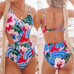 женщины мини-купальник выдалбливают BodySuit толчок вверх комплект бикини цветочные купальники крышка окна шеи зашнуровать asual набор для плавания женский