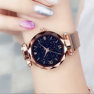 2019 Lüks Yıldızlı Gökyüzü İzle Kadınlar Mıknatıs Toka Manyetik Kuvars saatler Bayan Şık Moda Saatler