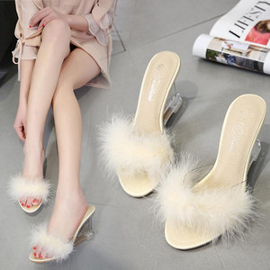 3 Color Female Slipper 35-40 Women Shoes Slides Ultra-high-heeled 8.5cm Feather Wedges Crystal Transparent Wedding Shoes 3839