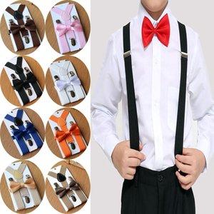 1PC Çocuklar Elastik Suspenders Bow Tie Eşleştirme Tuxedo Suit Unisex Erkekler Kızlar Papyon Çocuk Kostüm Ayarlanabilir Y Geri Brace