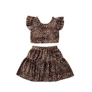 Summer Girls roupas da moda leopardo manga curta Tops camisetas Skirt Two Piece Set Outfits INS Girls Dress Kids Clothing Set CZ403