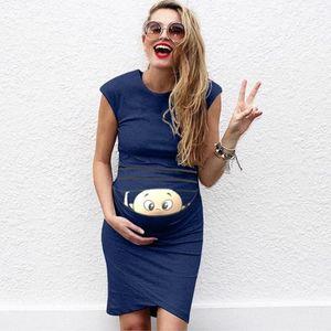 LONSANT impression bande dessinée robe de maternité moulantes Robes simples jupes pour les femmes enceintes Vêtements femme allaitante Vêtement 2020