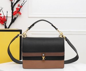 New hot sale new fashion women's handbag crossbody messenger bag contrast color bag high quality designer retro leather handbag 25cm