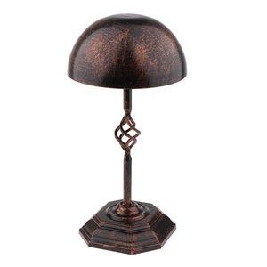 / Sekizgen Tabanı Güzel Destek Rack w Vintage Metal Panolu Şapka Cap Peruk Peruk Kask Ekran Standı