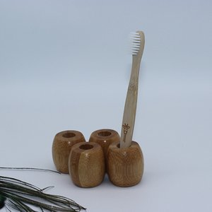 new Toothbrush Holder Natural Bamboo Wooden toothbrush holder Washroom Biodegradable Wooden holder Antibacterial T2I5790