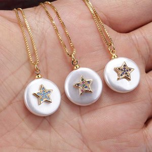 white coin round pearl bead with multiple colors cz paved star charm gold pendant choker necklace for woman daily jewelry