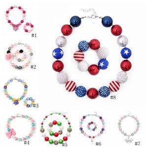 8styles Girl Heart Pendant Bead Necklace Bracelet American Flag Unicorn Diamond Rose Skull Head Bow Bubblegum Toddler Party Jewelry GGA3548