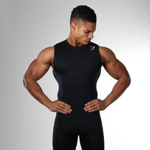 2018 Spring Summer Sleeveless round neck Sports outdoor fitness trendy men solid black grey quick dry tops vest O neck Tshirts