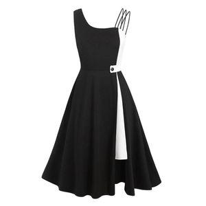 2020 Black White Summer Dress QY0851 A Line Swing Vintage Dress Plus Size Women Ladies Party Sexy Spaghetti Strap