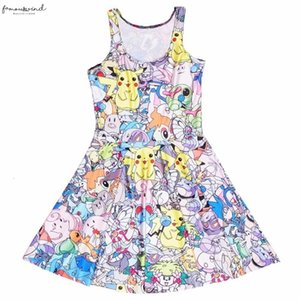 Dress Summer Fashion Twill New Style Women Dress Lovely Digital Printing Sleeveless Vest Dresses Drop Shipping