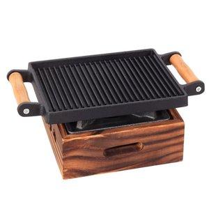 Barbacoa portátil Mini barbacoa de hierro fundido Estufa Teppanyaki Grill barbacoa individual de hierro fundido Pareja Pan y Cocina para Commercial Hotel Inicio