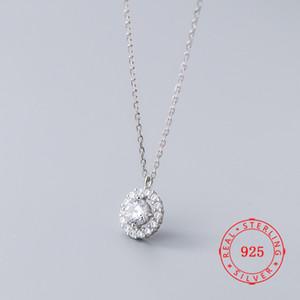 2019 colar artesanal colar do Estado da Califórnia 100% 925 prata esterlina zircão presentes oco rodada círculo colares para as mulheres