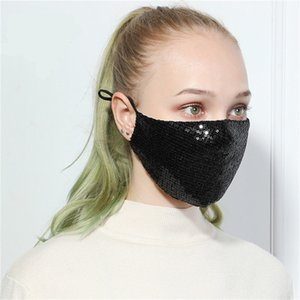 Designer Mask Adjustable Women Face Mask Bling Sequins Cycling Camping Travel Mask Washable Reusable Cloth Masks