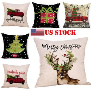 Noel Yumuşak Peluş Atma Yastık Kılıfı Ev Yatak Noel ağacı 18x18 santim reind