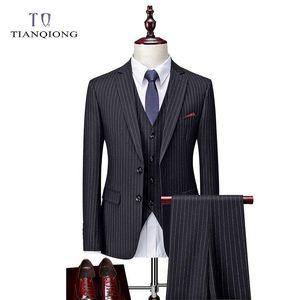 Tian Qiong Çizgili Erkekler 3 adet Suit Pantolon (Ceket + Pantolon + Vest) ile Erkekler 2020 Centilmen Suits Akıllı rahat uygun