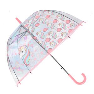 4 colores Catoon Unicorns Umbrella Niños lindos mango largo paraguas transparente Auto Abrir Cerrar Plegable Paraguas impermeable de viaje
