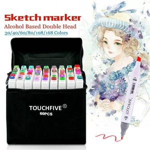30/40/60/80 Couleur Marqueurs Manga Dessin Marqueurs stylo à base d'alcool Sketch feutre Grasses double brosse Pen Art Supplies