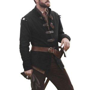 MJARTORIA 2019 La nueva capa de caballero medieval cosplay color sólido collar de cuero de los hombres de la hebilla de Tops Tops Hombres de manga larga