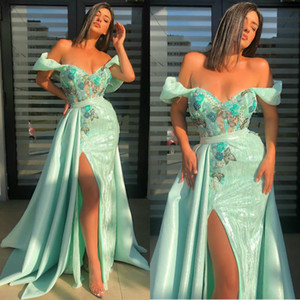 Sexy High Split Mermaid Prom Dresses With Detachable Train Sequins Lace Evening Dress Cocktail Party Sweep Train Formal Occasion Wear