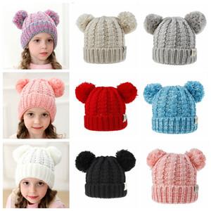 Crianças de inverno Chapéu de Malha Meninas Bebê Quente Pom Pom grande bola de Pêlo chapéu de Lã Senhoras Crânio Beanie Crochet Ski Caps Ao Ar Livre