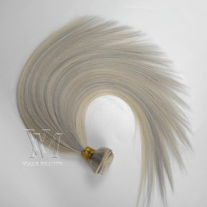 Double Drawn 3 Bundles lot Piano Color #60 #silver 100% Unprocessed Weft Silk Straight single donor Virgin Remy Human Hair Weaves Extension