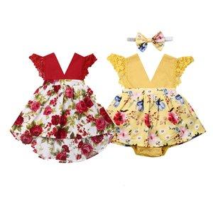 2pcs Clothing Set Baby Girl Dresses Print Summer Newborn Baby Girl Flower Romper Dress Bodysuit Outfit Clothes Set 0-24 Months
