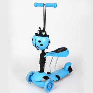 Üç tekerlekli çocuk scooter katlama asansör flaş bebek çok fonksiyonlu üç-bir-arada scooter kaynak fabrika Bisikletleri Ride-Ons Tekerlek mat Pedal
