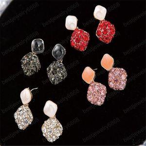New Fashion Wedding Earrings 925 Silver Pin Shining CZ Zircon Geometric Square Dangle Drop Earring For Women