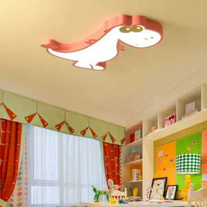 Children's room LED ceiling lamp Warm cartoon dinosaur bedroom male and female room lighting eye protection dimming wrought iron lamps