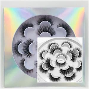 7 أزواج 8D المنك جلدة وهمية 3D المنك الرموش الطبيعية لفترة طويلة الرموش الصناعية الكبرى المسرحية رمش تمديد ماكياج أداة الجمال