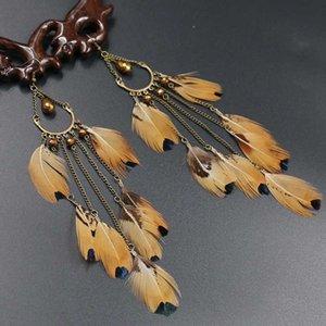 Bohemian New Style Dangle Earrings Coffee Long Bronze Plated Crystal Bead Zinc Alloy Rock Style Dangle pendientes mujer moda